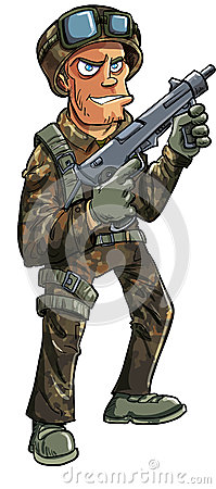 Cartoon soldier with machine gun