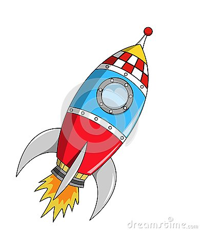 Cartoon Space Rocket on Mission
