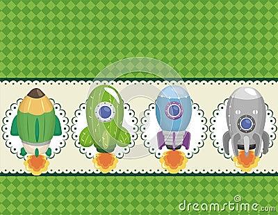 Cartoon spaceship card
