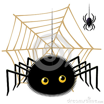 Cartoon Spider Looking Up A Tarantula On  Cobweb Royalty Free Stock Photo - Image: 26840995