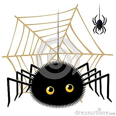 Cartoon spider looking up a tarantula on  cobweb