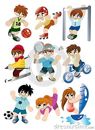 Cartoon sport player icon set