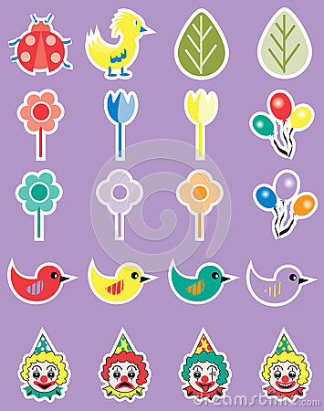Free Cartoon Spring Party Icon Set Stock Photography - 56066452