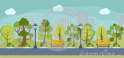 Cartoon spring or summer park panorama. Vector Illustration