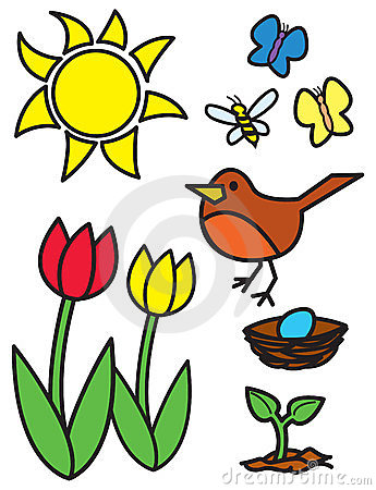 Cartoon Springtime Items and Animals