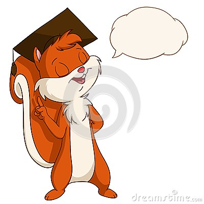 Cartoon squirrel in graduated hat with talk bubble