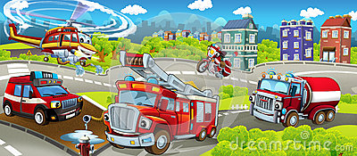 Cartoon stage with different machines for firefighting - colorful and cheerful scene Stock Photo