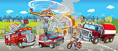 Cartoon stage with different machines for firefighting - tracks motorbike and helicopter - colorful and cheerful scene Stock Photo