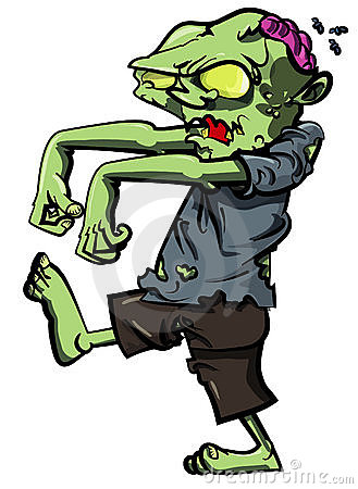 Cartoon stalking zombie with brain exposed