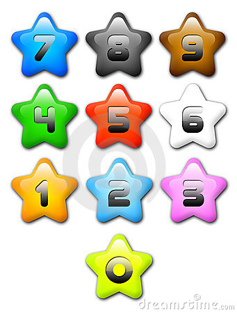 Cartoon Star, Numbers, Colours