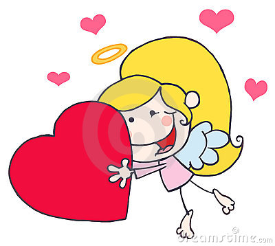Cartoon Stick Cupid Girl Flying With Heart