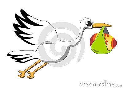 Cartoon Stork Bringing Decorated Egg