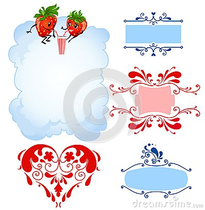Cartoon strawberry and frames