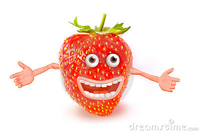 Cartoon strawberry. Objects over white. Photo and