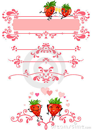Cartoon strawberry and pink decorations