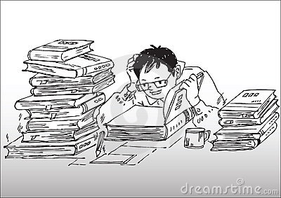 Cartoon_studying working hard