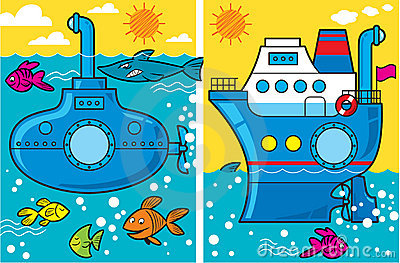 Cartoon submarine and ship