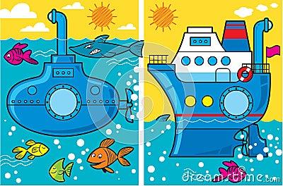 Cartoon submarine and ship