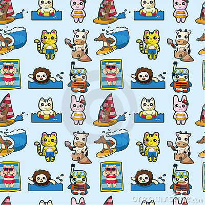 Cartoon summer animal seamless pattern