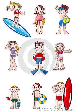 Cartoon summer people icon
