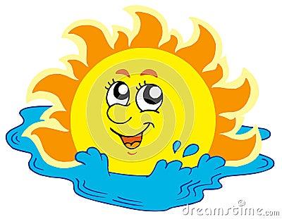 Cartoon Sun bathing in sea