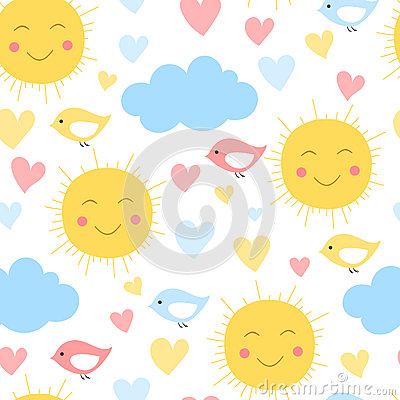 Cartoon sun, cloud. heart and bird background. Seamless pattern for kid textile and other print. Vector illustration Vector Illustration