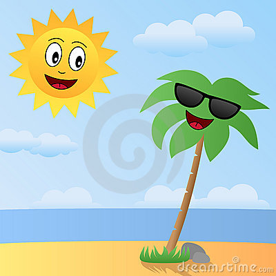 Cartoon Sun and Palm Characters