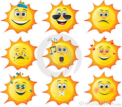 Cartoon sun smiley set