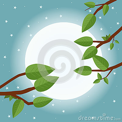 Free Cartoon Sunset. Flat Vector Illustration, Trees, Leaf, Moon And Royalty Free Stock Photography - 96385227