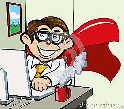 Cartoon superhero office worker
