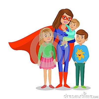 Free Cartoon Superhero Woman In Red Cape, Mother Superhero Stock Images - 71125004