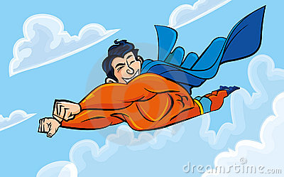 Cartoon superman flying with his cape behind