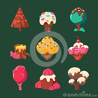 Free Cartoon Sweet Candy Land Collection. Vector Illustration Stock Images - 66556024