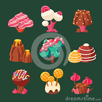 Free Cartoon Sweet Candy Land. Vector Illustration Royalty Free Stock Photo - 66556185