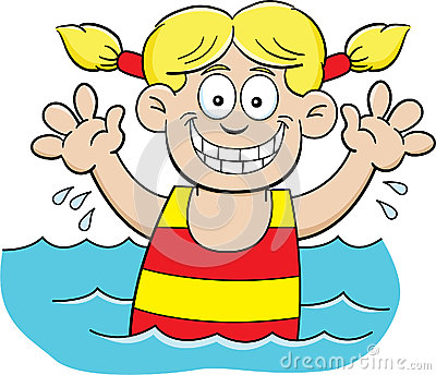Cartoon swimming girl