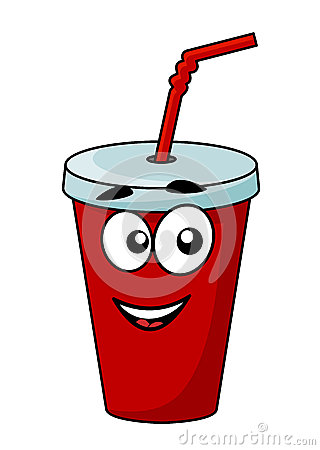 Cartoon takeaway soda drink in a covered cup with a straw with a happy ...