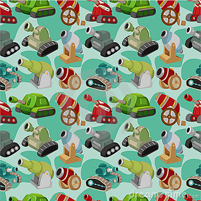 Cartoon Tank/Cannon Weapon  seamless pattern