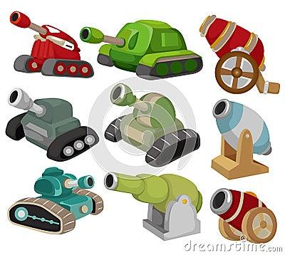 Cartoon Tank/Cannon Weapon set icon