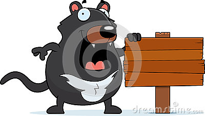Cartoon Tasmanian Devil Sign