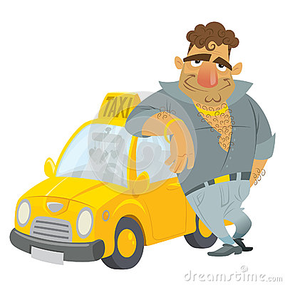 Cartoon Taxi Driver Funny Character With His Yellow Cab ...