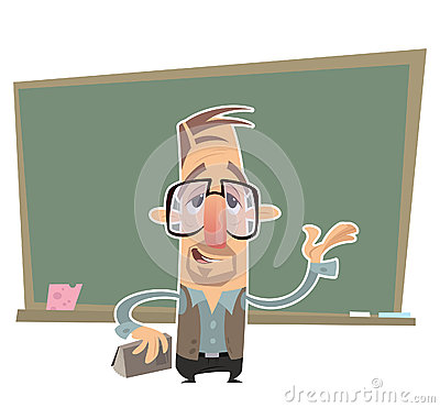 Teacher presenting in front of a blackboard