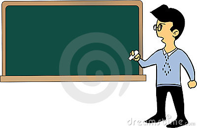 Cartoon teacher and blackboard