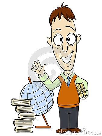 Cartoon teacher with book