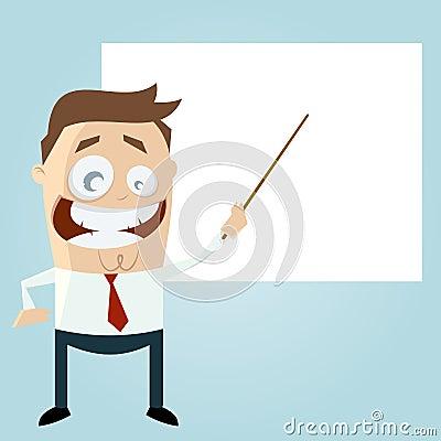 Cartoon teacher with an empty board