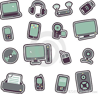 Cartoon technology icons 1