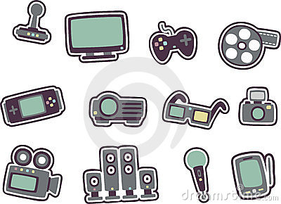 Cartoon technology icons 2