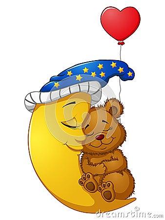 Free Cartoon Teddy Bear Sleep On The Moon Stock Images - 85255604