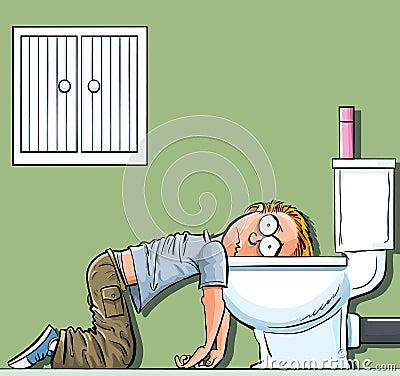 Cartoon teen boy sick in the toilet