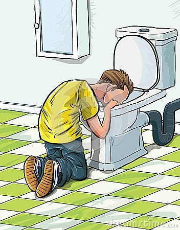 Cartoon teenager sick in toilet.