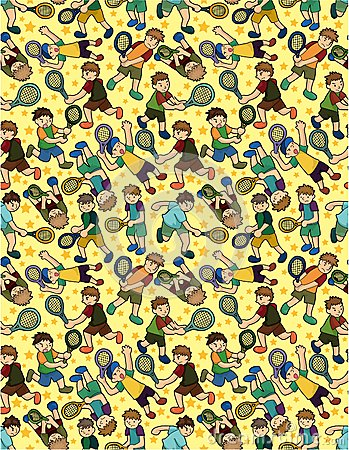 Cartoon Tennis Players seamless pattern
